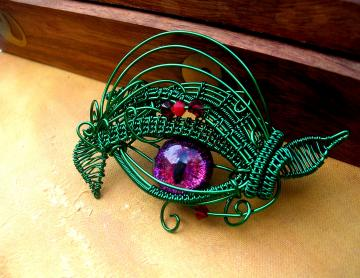 SOLD OUT - Steampunk Gothic Strange - Entwined Soul - Nature Dragon Evil Eye - Pendant - Red Rose Violet Green- OOAK - Color shift - Hand Painted dark creepy Wire - one of a kind All Seeing Eye