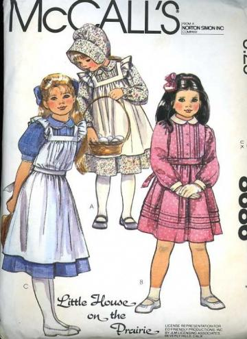McCalls 8686 Sewing Pattern Girls Laura Ingalls Prairie Dress Pinafore Bonnet size 7