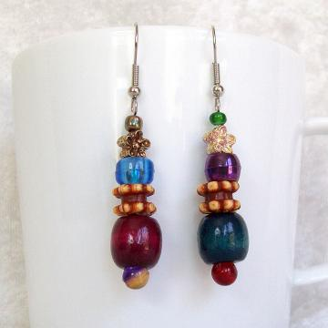 Beaded Dangle Earrings, multicolored