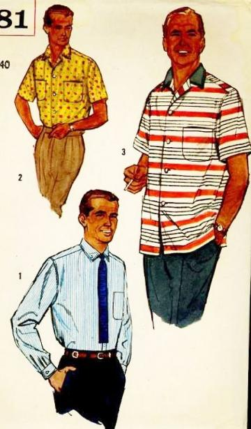 Vintage 1950s Simplicity 2081 Sewing Pattern Mens Classic Atomic Age Shirts Chest 38 to 40