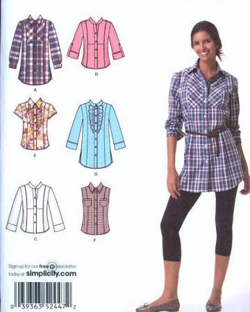 UnCut Simplicity 2447 Sewing Pattern Misses Shirts sizes 6 to 14