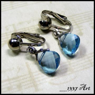 Aquamarine Clip On Earrings with Faceted Swarovski Crystals, March Birthstone Jewelry