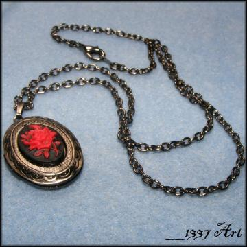 Gothic Locket Red and Black Rose Cameo Gunmetal Necklace MADE TO ORDER