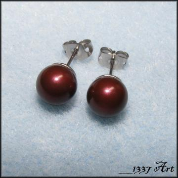 Maroon Pearl Post Stud Earrings Swarovski Surgical Steel 8mm MADE TO ORDER