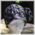 Crocheted Hat Green Purple