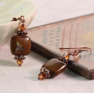 Bohemian Tiger Iron and Copper Earrings