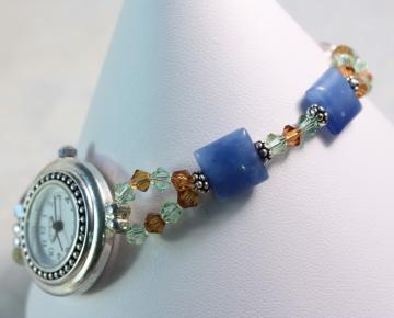 Blue Quartz Topaz and Chrysolite Crystal Watch