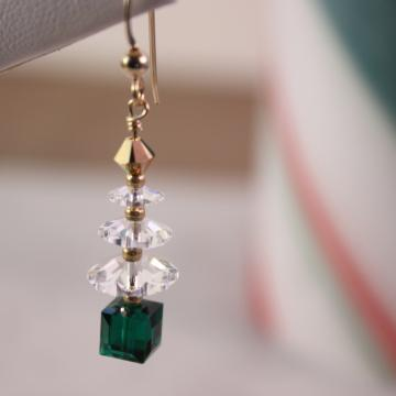 Christmas Tree Earrings in Crystal, Emerald and Go