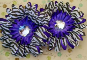 Purple Zebra Gerbera Flowers x2