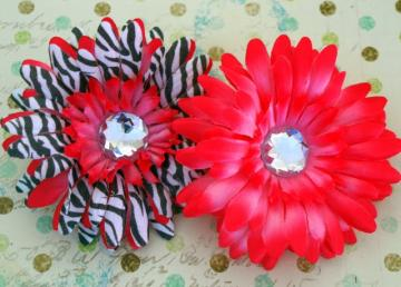 Hot Pink And Zebra Gerbera Flowers x2
