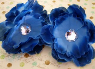 Navy Crystal Peony Flowers X2