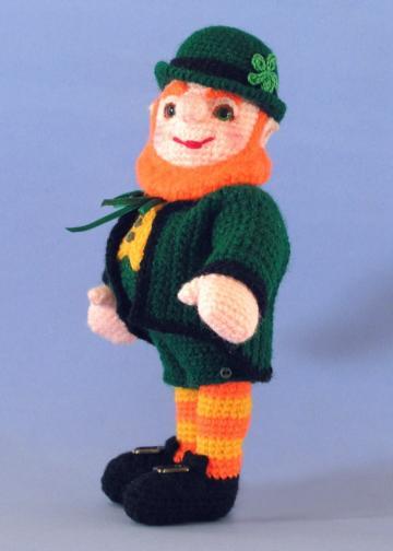 Liam the Leprechaun, Miniature Crocheted Art Doll, Amigurumi