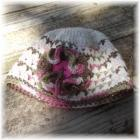 Crocheted Hat Cream Pink Green