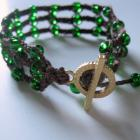 triple macrame bracelet brown and green