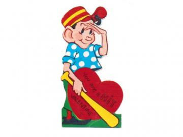Vintage Valentine Card Baseball Bat Boy by SandyCreekCollectables