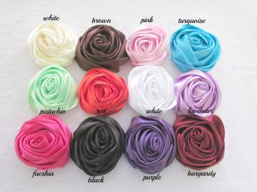 Lot of 6 Rolled Satin Flowers, Amelia --- ZIBBET