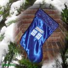Christmas Stocking- Dr Who TaRDiS made with satin, crystal- get your name on it for free