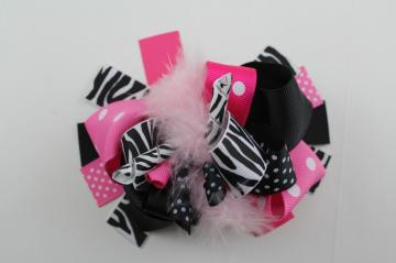 Sassy pink and black zebra hair bow with marabou feather