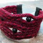 Wine and Roses, handbeaded kumihimo cuff