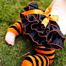 Halloween Black and orange bloomers and legwarmers for Infant - toddler