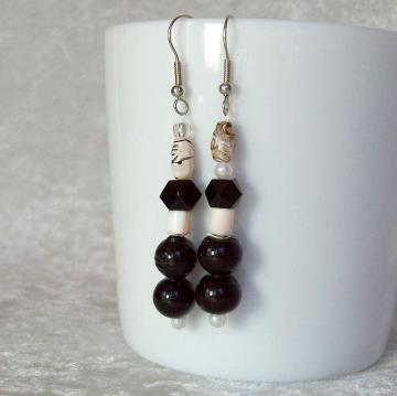 Beaded Dangle Earrings, black and white