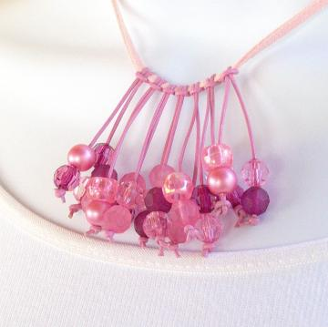 Necklace, Tonal Pink Beads fringed on leather cord
