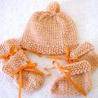 Baby Hat Set - Peach with Ribbons - Girl