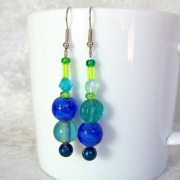 Beaded Dangle Earrings, blue and green