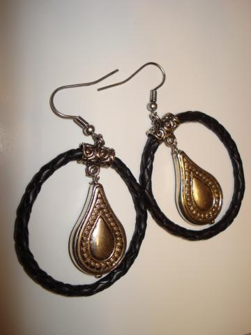 Braided Black Leather Hoop Earrings with Teardrop Dangle
