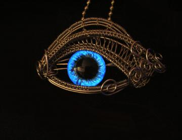 GLOW - Steampunk Gothic - Dragon Evil Eye - Pendant - Cerulean Blue Silver - Water and Wind - Color shift - Hand Painted dark creepy Wire - one of a kind