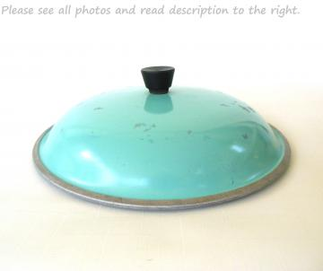 Club Aluminum Lid Turquoise Dutch Oven Pot Pan Skillet 10.25""