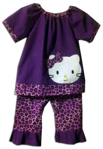 ON SALE - Miss Kitty Pants Set - Size 12m up to 5T -Free Matching Bow