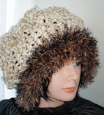 Snow Queen Hat Ecru/Cream Faux Fur Women Med/Large