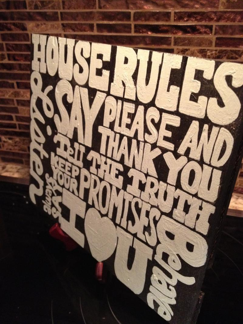 Handpainted wood house rules typography sign by SawYourSign on Zibbet