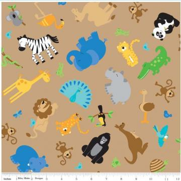 "Riley Blake Designs ""Zoofari"" by Doodlebug Design. 100% cotton, Brown 1 yard  - ZIBBET"