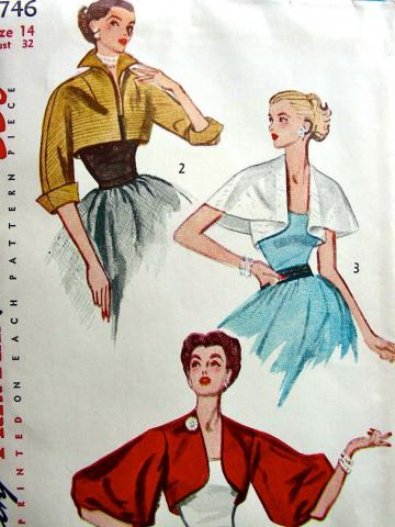 Vintage 1957 Sewing Pattern 3746 - GLAMOROUS SET OF EVENING WRAPS - UNCUT - 14/32
