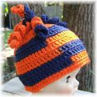 Navy Blue and Orange Infant Noodle Hat