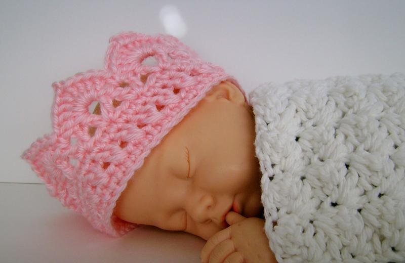 Crochet Newborn Crown : Pink Crochet Baby Tiara Princess Crown Photo Prop