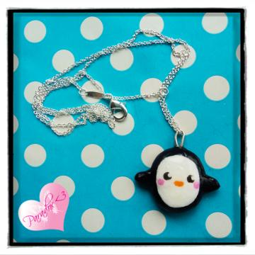Baby Penguin Silver Plated Charm Necklace Kawaii Kitsch Cute Japan Clay