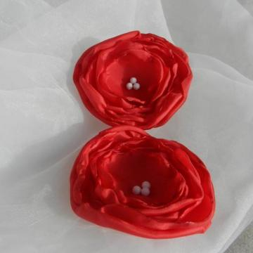 Red Fabric Flower Beaded Applique