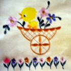 Full Embroidered whimsical chicken cart and daisies apron