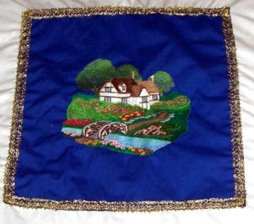 Embroidered English cottage mini wall hanging blue over white