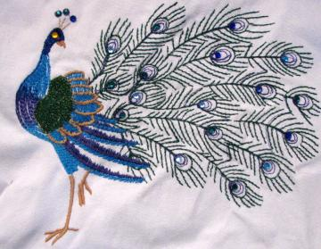 Embroidered peacock and crystal tote bag