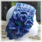 Crocheted Head Wrap Blue Turquoise