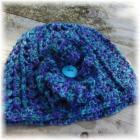 Crocheted Hat Turquoise Purple