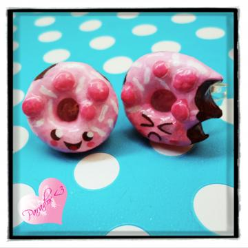 Kawaii Kitsch Cute Japan Clay Happy & Angry Donut Doughnut Adjustable Rings Ring Set