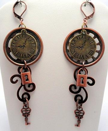 Locked in Time Steampunk Earrings