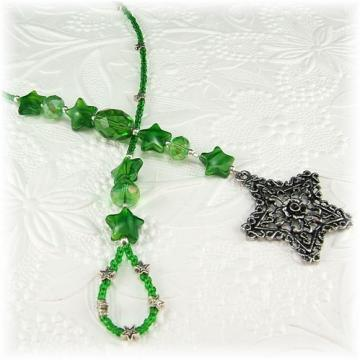 Green Star Beaded Bookmark Book Thong