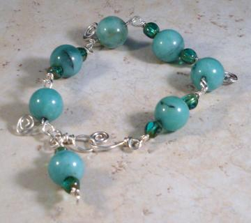 Azure Amazonite and Sterling Silver Link Bracelet
