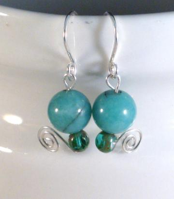 Azure Amazonite and Sterling Silver Earrings